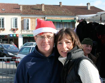 angus at the christmas market in trie-sur-baise