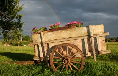 the old cart with a rainbow behind