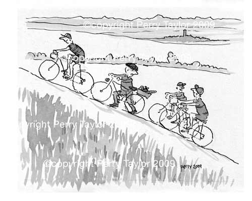 a cycling club climb a steep hill and pass an old man pushing his bike up the hill. In the background the landscape of south west France. An indian ink drawing by Perry Taylor, available as an A4 print.