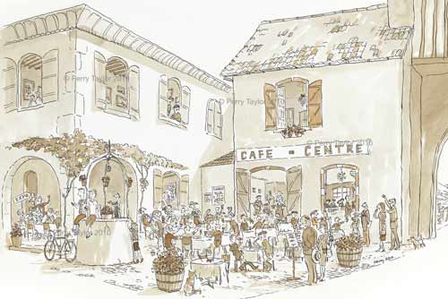 cafe de la tour tillac, ink drawing by Perry Taylor