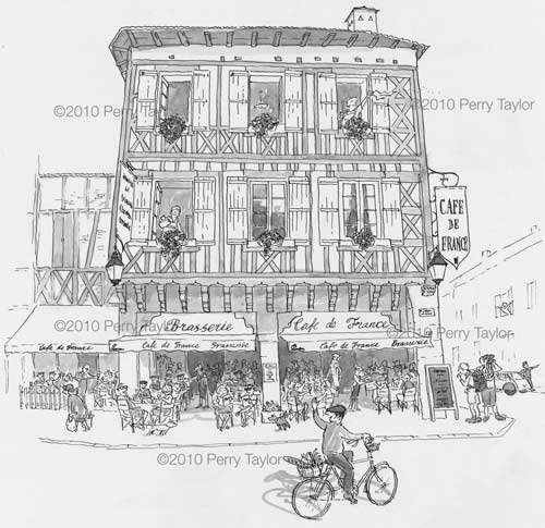 a drawing of the cafe de france in eauze, Gers
