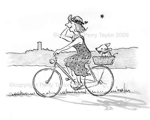 lady on a bicycle with dog