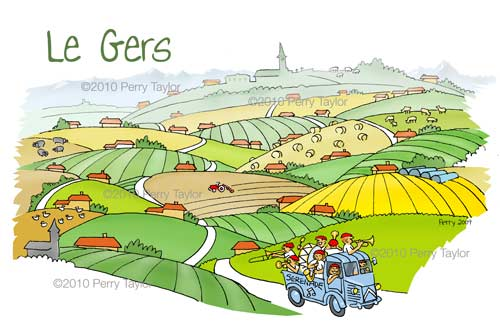 drawing of the Gers landscape