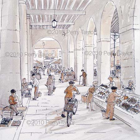 the market under the arches of the Mairie in Trie-sur-Baïse